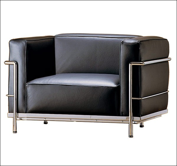 Sessel LC3 by Le Corbusier 1928 (Anilinleder schwarz)