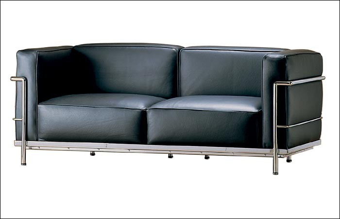 Sofa 2 sitzer LC3 by Le Corbusier 1928 (Anilinleder schwarz)