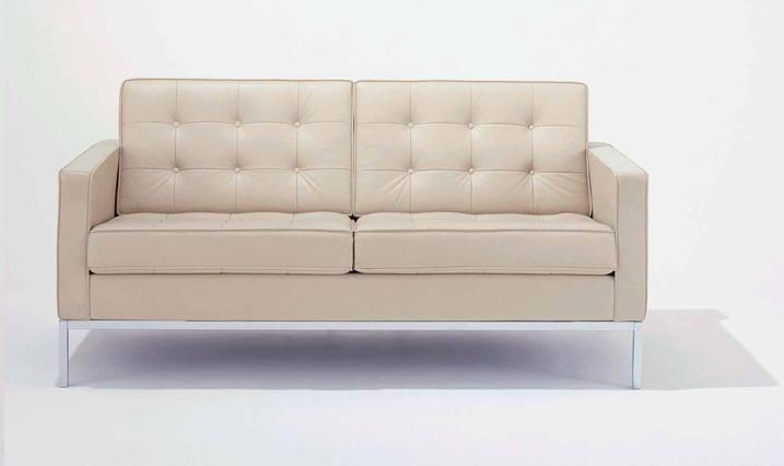 Sofa Zweisitzer by Florence Schust Knoll 1954 (Anilinleder creme)