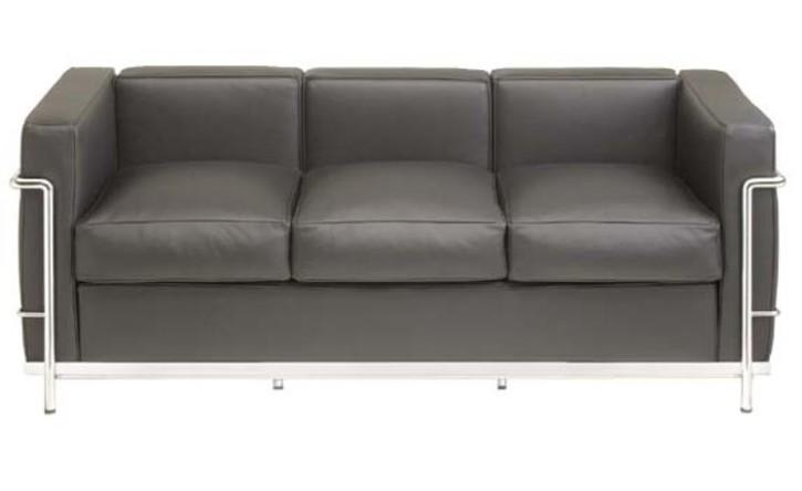 Sofa Dreisitzer LC2 by Le Corbusier (Anilinleder schwarz)