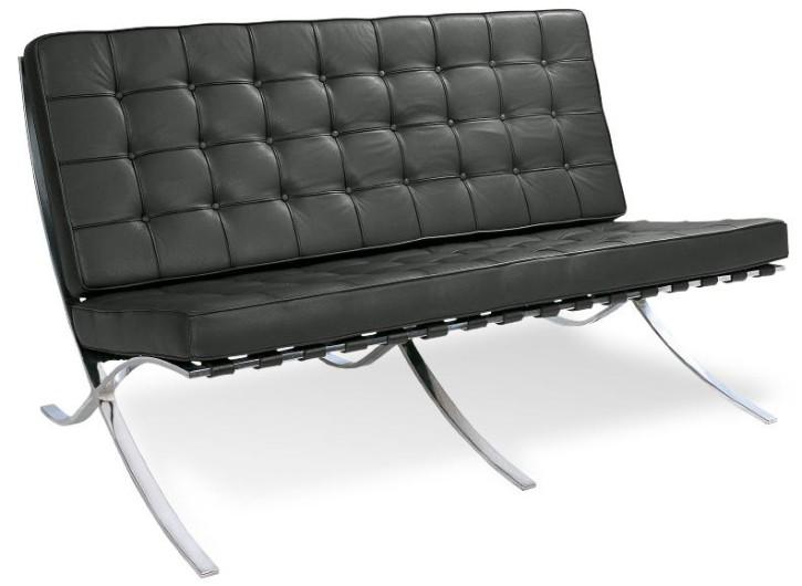 Sofa 2 Sitzer Barcelona by Ludwig Mies van der Rohe 1929 (Anilinleder schwarz)