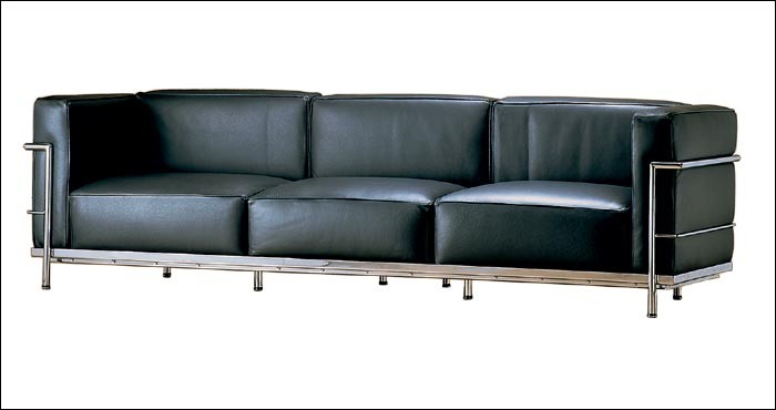 Sofa 3 sitzer LC3 by Le Corbusier 1928 (Anilinleder schwarz)