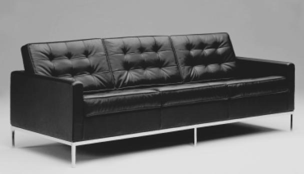 Sofa Dreisitzer by Florence Schust Knoll 1954 (Anilinleder creme)