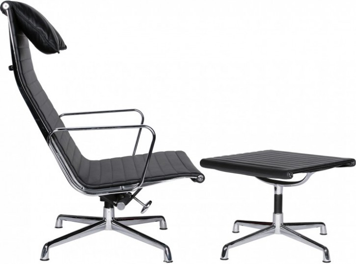 Aluminuim Group Chair mit Ottomane EA 124 by Charles Eames