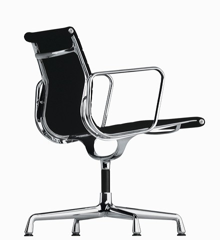 Aluminuim Group Chair EA 107 by Charles Eames (Anilinleder weiss)