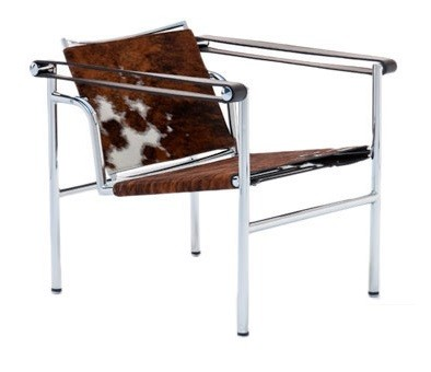 LC1 Basculant Chair by Le Corbusier (Ponylook brown/white)