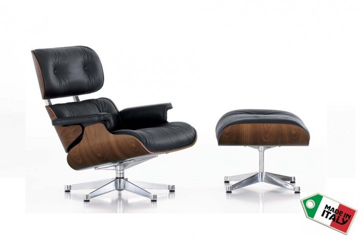Loungechair mit Ottomane in Walnuss by Charles Eames 1956
