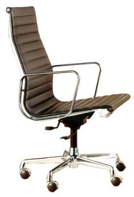 Aluminium Group Chair EA 119 by Charles Eames (Anilineder cognac)