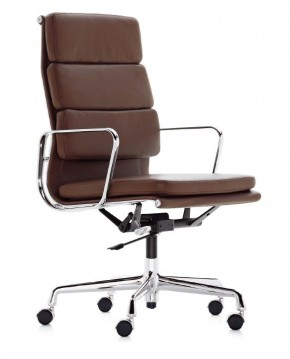 Aluminium Group Softpad Chair EA 219 by Charles Eames (Anilineder cognac)